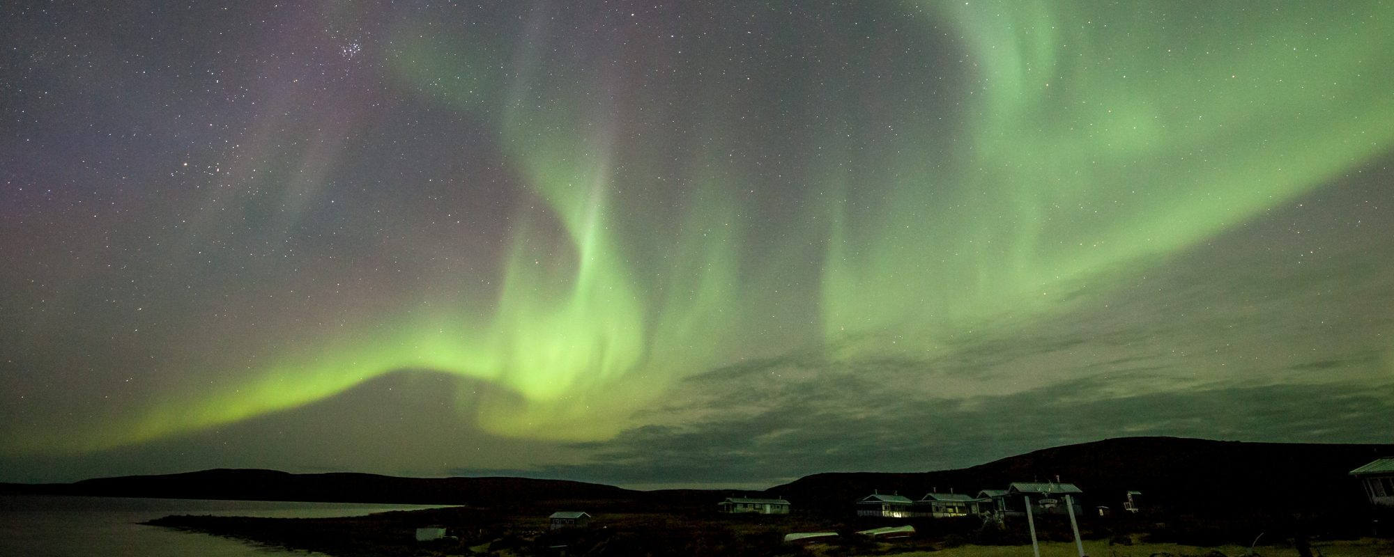 Northern Lights over Peterson's Point Lake Lodge